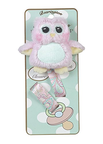 (Bearington Baby Lil' Hoots Plush Pink Owl Pacifier Holder with Satin Leash and)
