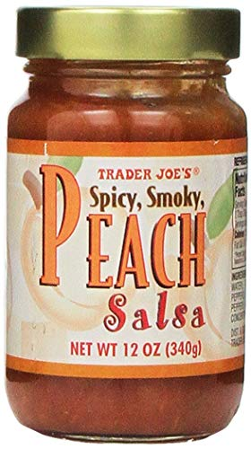 Trader Joe's Peach Salsa Picante | Medium Hot Spice | Fresh Semi-Sweet Spicy Thick Chunky and Smoky Gourmet Restaurant Flavor | 12 ounce Jar | Great Chip Dip For Party Fiestas Mardi Gras Celebrations