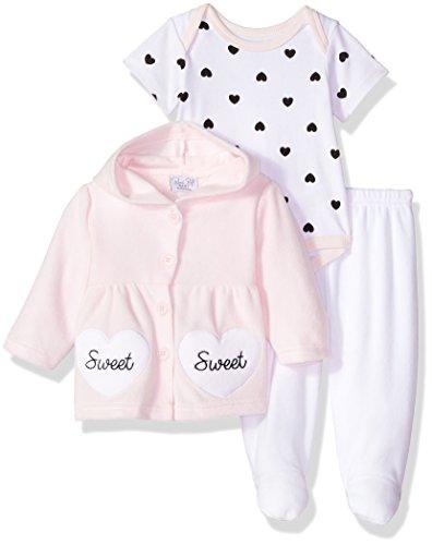 Rene Rofe Baby Kids' Little Newborn 3 Piece Velour Jacket Bodysuit Set, Sweet Heart, 6-9 Months