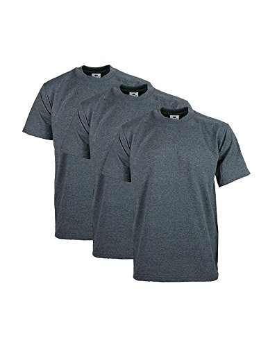 Pro Club Men's Heavyweight Cotton Short Sleeve Crew Neck T-Shirt, Small, Charcoal (3 Pack)