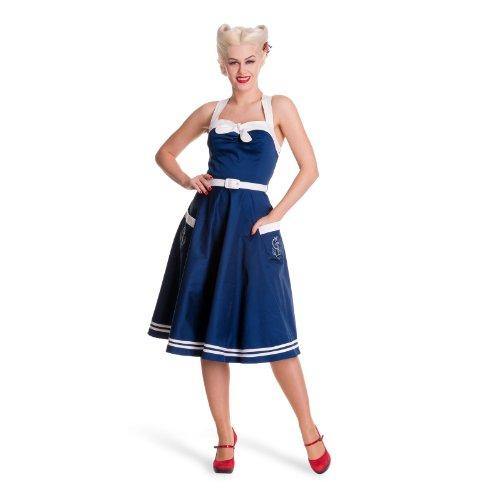 Tiger Milly - Hell Bunny Sailor Robe Femme Bleu Marine Années 50 Sirène Matelot - Bleu, FR 42 (L)