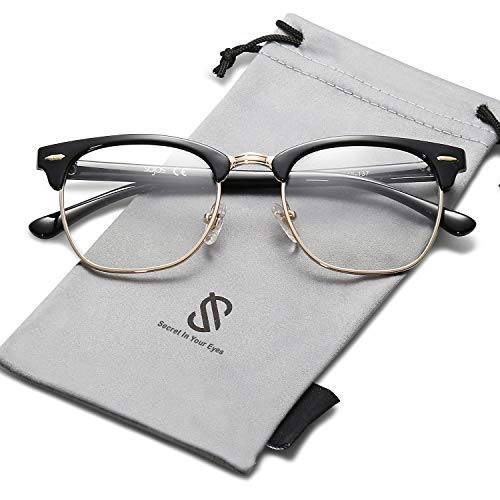 SOJOS Semi Rimless Eyewear Frame Eyeglasses Half Horn Rimmed Glasses SJ5018 with Bright Black Frame/Gold Rim/Clear Lens