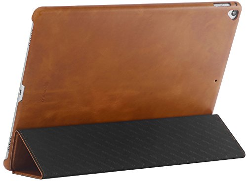 StilGut Case for Apple iPad Pro 12.9'' (2017 and Previous Editions), Genuine Leather Case with Folded Cover Design, Stand Function & Smart-Cover (Auto Sleep, Wake-up), Cognac Brown by StilGut