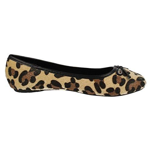 Bow Tan Leopard Flat Ballerina Pump RdUgRpq