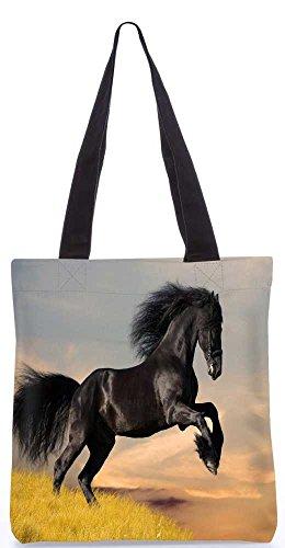 Snoogg Springen Schwarzes Pferd Tragetasche 13,5 X 15 In Einkaufstasche Dienstprogramm Trage Aus Polyester Leinwand