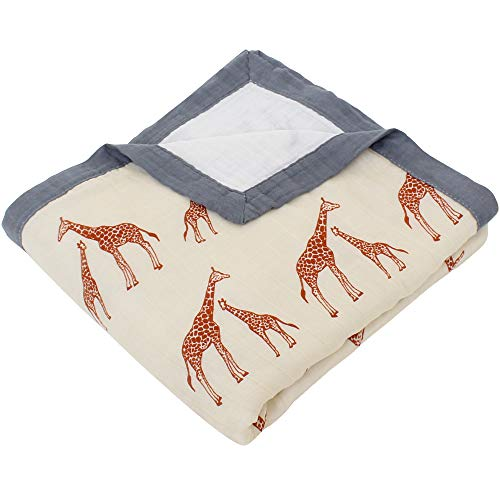 LifeTree Toddler Blankets, 2 Layers Bamboo Cotton Muslin Baby Blankets, Large Soft Toddler Bed Blankets, Lightweight Crib Blankets 45 x 45 inches, Giraffe Print