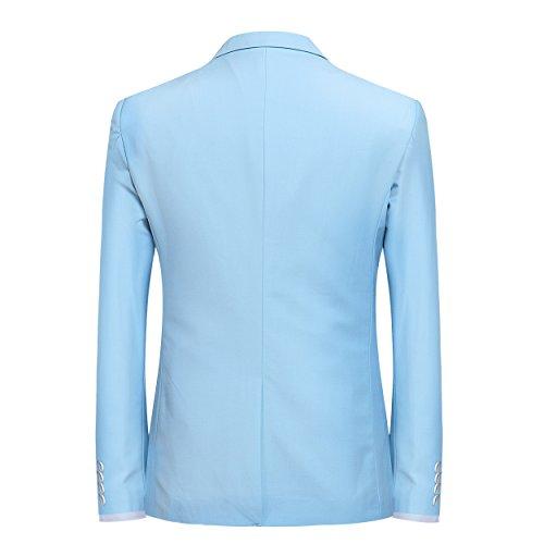 Pantalon Bleu Mariage Homme Fit Slim Cérémonie Costume En D'affaire Deux Clair Pièce Veste Et S1nq70