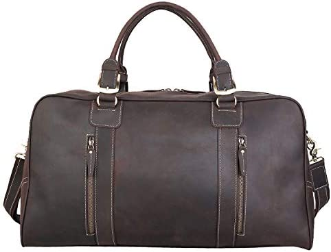 Polare Mens Vintage Leather Duffel Overnight Travel Duffle Weekender Bag With YKK Metal Zippers X-large 23.2
