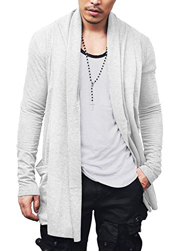 Cotton Long Cardigan - COOFANDY Men's Ruffle Shawl Collar Cardigan Premium Cotton Blend Long Length Drape Cape Overcoat (LLLL, White)