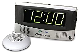 Sonic Boom Vibrating Radio Alarm Clock with AM/FM Radio & Powerful Super Vibrating Unit, Features Snooze, Extra Loud Pulsating Audio Alarm and Battery Backup