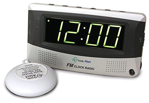 Sonic Boom Vibrating Radio Alarm Clock with AM/FM Radio & Powerful Super Vibrating Unit, Features Snooze, Extra Loud Pulsating Audio Alarm and Battery Backup (Sonic Boom Clock Alarm)