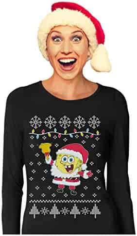 513ca232 Spongebob Santa Jingle Bells Ugly Christmas Sweater Women Long Sleeve T- Shirt