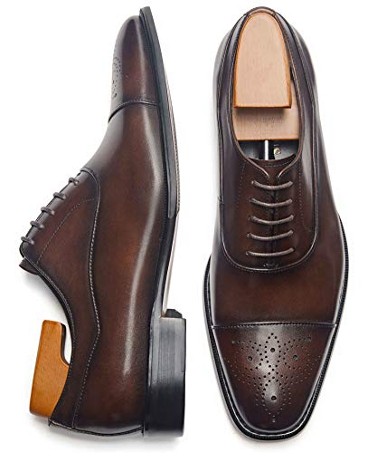 Latest Model Men Dress Shoes Formal Oxford Office Genuine Leather Shoes (10.5 Dark Brown)