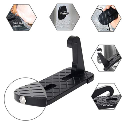 Car Doorstep Vehicle Hooked Folding Ladder Foot Pegs U Shaped Slam Latch with Safety Hammer for Jeep Car SUV, Easy Access to Car Rooftop Roof-rack by CESHUMD (Image #3)