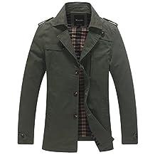 Wantdo Men's Turn-down Collar Cotton Trench Coat