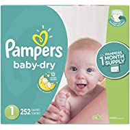 Diapers Newborn / Size 1 (8-14 lb), 252 Count - Pampers Baby Dry Disposable Baby Diapers, ONE MONTH SUPPLY (Packaging May Vary)
