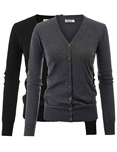 Women's Stretchy Cardigan Open Front Button Down V-Neck Sweater(L,2 Pack Black Heather Grey)
