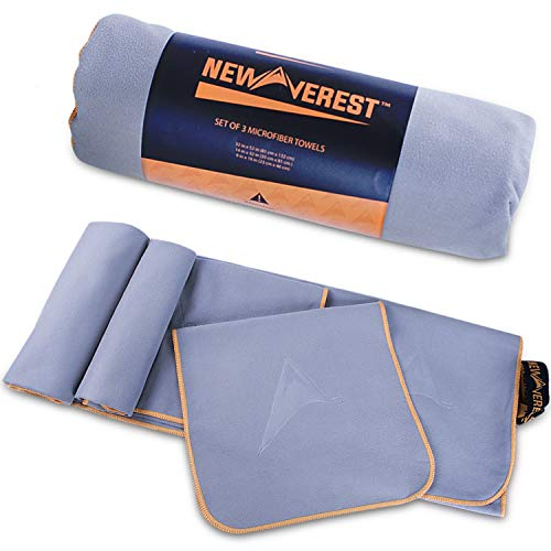 Newverest Microfiber Towel Set, 3 Pack Quick Dry Travel Towels for Sports, Beach, Camping, Gym & More, Super Absorbent, Lightweight & Antibacterial, Fast Drying, Sizes XL, Medium, Small