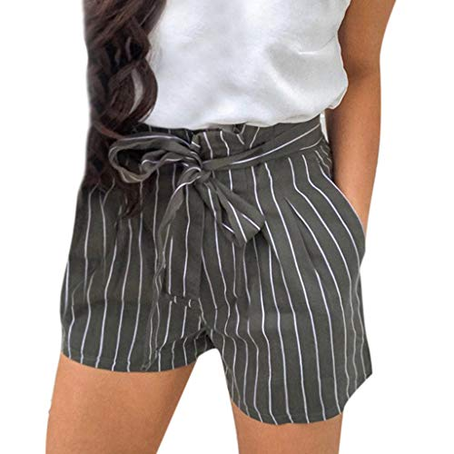 - JOFOW Shorts Womens Colorful Vertical Striped Two Tone High Waist A Line Drawstring Strappy Pleated Ruffle Loose Mini Pants (XL,Black)