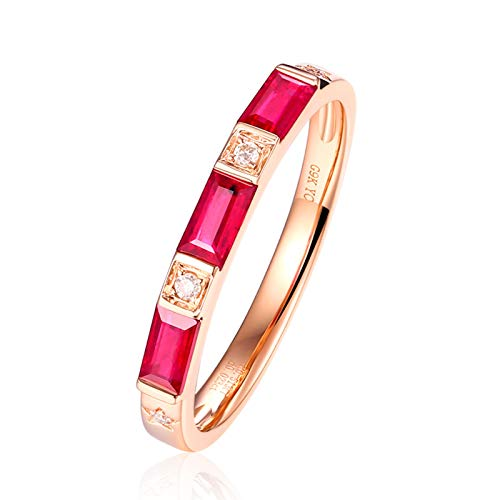 KnSam Ring for Women Fashion Fine Ruby0.51ct Red Diamond, White Gold 9 Carats Wedding Rings for Women Red Size 8.5 ()