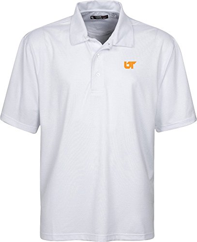 NCAA Tennessee Volunteers Men's Links Tech Stretch Tonal Jacquard Short Sleeve Polo Shirt, Small, White