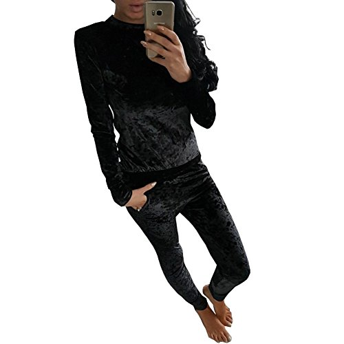 Longwu Women Pleuche Long Sleeve Rompers Jumpsuit Bodycon Two-piece Set Clubwear Black-M (Sexiest Plus Size Outfits)