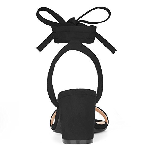 Ankle Black Heel Block Women's Uk Mid K 6 Allegra Sandals Open Tie Toe HxqwUn0v