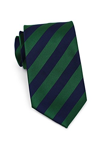 Bows-N-Ties Men's Necktie Business Striped Microfiber Satin Tie 3.25 Inches (Hunter Green and Navy)