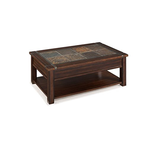 Beaumont Lane Wood Lift Top Coffee Table in Cherry and Slate