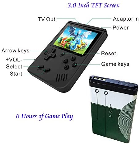 Handheld Games Console for Kids Adults - Retro Video Games Consoles 3 inch Screen 168 Classic Games 8 Bit Game Player with AV Cable Can Play on TV (Black) Best Deal Site   Setia menemani anda