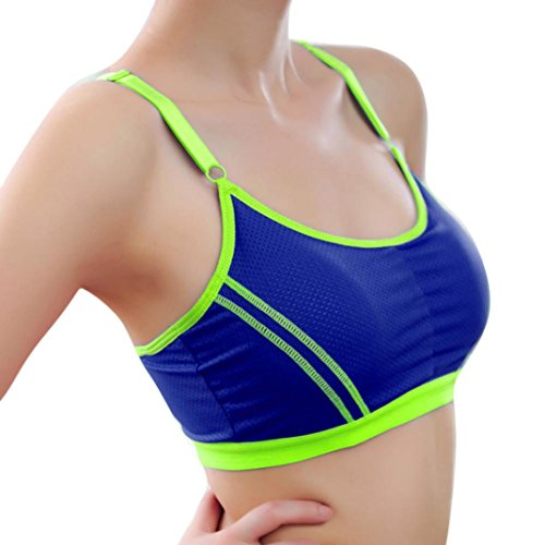 Misaky Sports Yoga Athletic Solid Wrap Chest Workout Fitness Bra (Free Size(62-70CM), Blue)