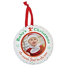 The Grandparent Gift Ceramic Photo Ornament, Baby's First Christmas