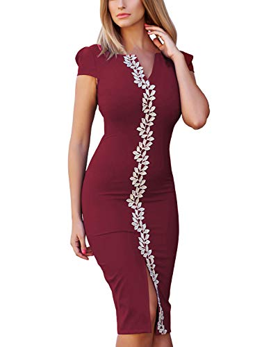 Fantaist Women's Summer Casual Office Evening Nightout Holiday Party Pencil Sheath Dress (FT639-Burgundy, M)