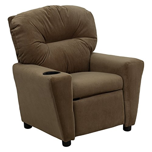 Contemporary Microfiber Kids Recliner with Cup Holder Brown