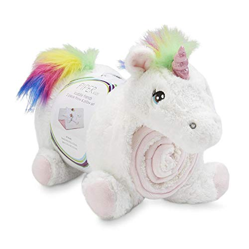 Unicorn Pillow and Throw Blanket Baby Shower Gift 2 Piece Present Idea Piper Kids Cuddle Friends, Infant, Toddler Nap Fleece Pillow & Blanket Set for Boys and Girls