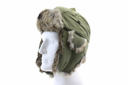 (Woolrich Pilot Hat Olive with Rabbit Fur Lining (Large (59.5 cm)))