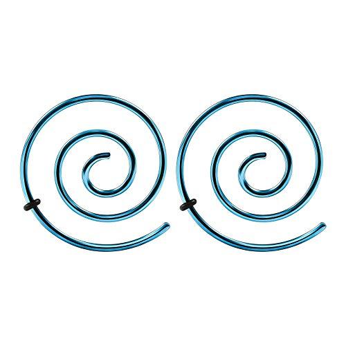 BIG GAUGES Pair of Surgical Steel Anodized 16g Gauge 1.2mm Light Blue Spiral Expander Plugs Piercing Ear Stretcher Lobe Earring -