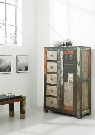 Wolf Möbel Goa Brotschrank 1 Tür 5 Schubladen Akazie Multicolor