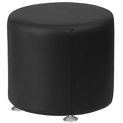 - Campton Contemporary Design Alon Series Black SoftLeather 24Round Ottoman Lounge Chair | Model LNGCHR - 289