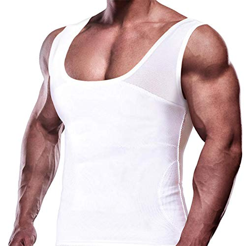 GKVK Mens Slimming Body Shaper Vest Chest Compression Shirt Abs Abdomen Slim Tank Top Undershirt