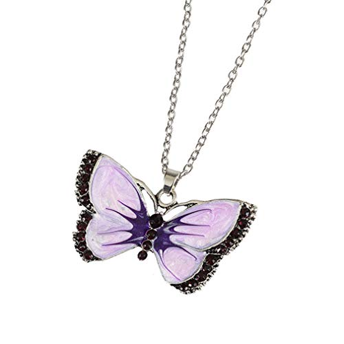 YESMAEA Butterfly Pendant Necklace Crystal Rhinestone Necklace Chain Fashion Sweater Necklace for Women (Butterfly Pendant Necklace Chain)