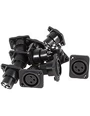 uxcell 10 x Black Silver Tone XLR Female Jack Straight Socket Connectors
