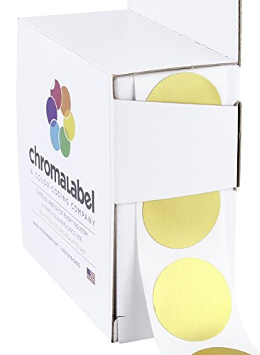 ChromaLabel 1 inch Color-Code Dot Labels | 1,000/Dispenser Box (Metallic Gold)]()