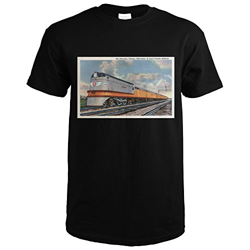 Chicago, Illinois - The Hiawatha Railroad Train - Vintage Halftone (Black T-Shirt Large)