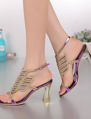 ShangYi Women's Shoes Leather Chunky Heel Heels Sandals Party & Evening / Dress / Casual Purple / Gold Purple KHkh2gsB