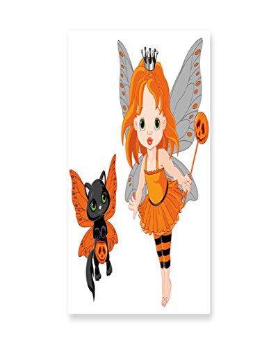 Lunarable Halloween Wall Art, Halloween Baby Fairy and Her Cat in Costumes Trick Butterflies Girls Kids Design, Gloss Aluminium Modern Metal Artwork for Wall Decor, 11.6 W X 23.5 L (Original Halloween Costume Ideas For Babies)