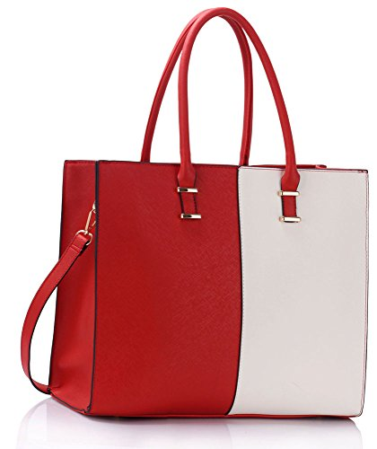 Women Extra Large Handbag Tote Shoulder For Ladies Bag Female Faux Leather Designer New With Strap Design 1 - Red / White