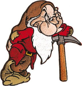 Dwarf Grumpy of Disney's Snow White & The Seven Dwarfs Embroidered Iron On Applique Patch