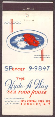 (Hyde-A-Way Sea Food House Yonkers NY matchcover)