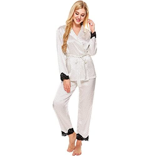 1d970dfa62 Ekouaer Christmas Pajama Womens Comfy Sleepwear Button Down Satin Nightgown  hot sale
